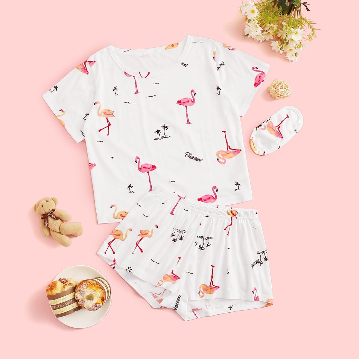 Маска для глаз и пижама с оригинальным принтом для девочек от SHEIN