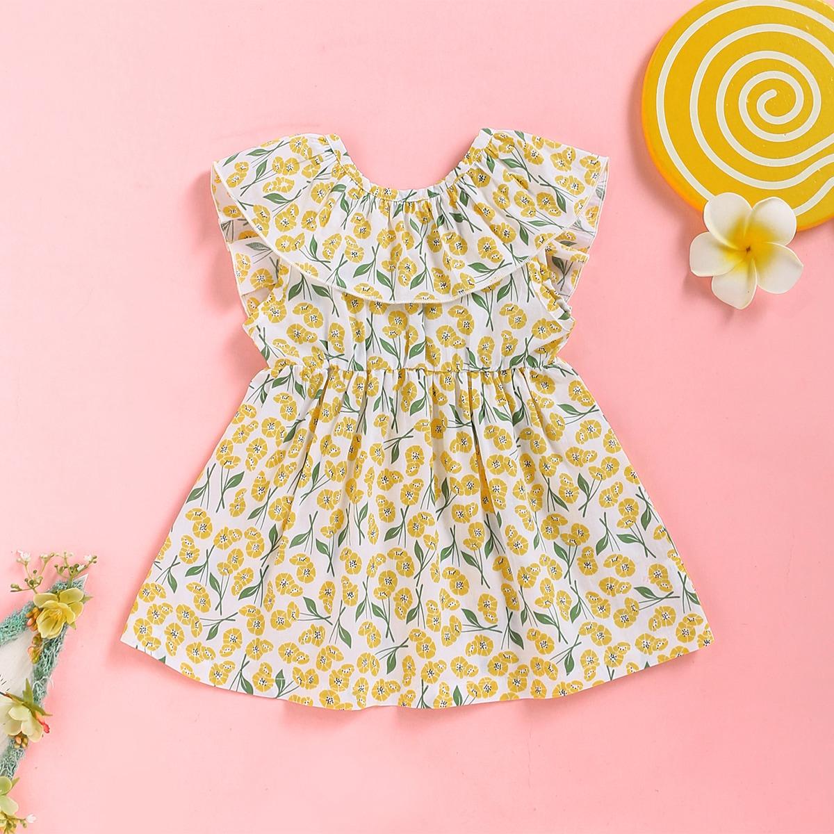 Платье с бантом и цветочным принтом для девочек от SHEIN