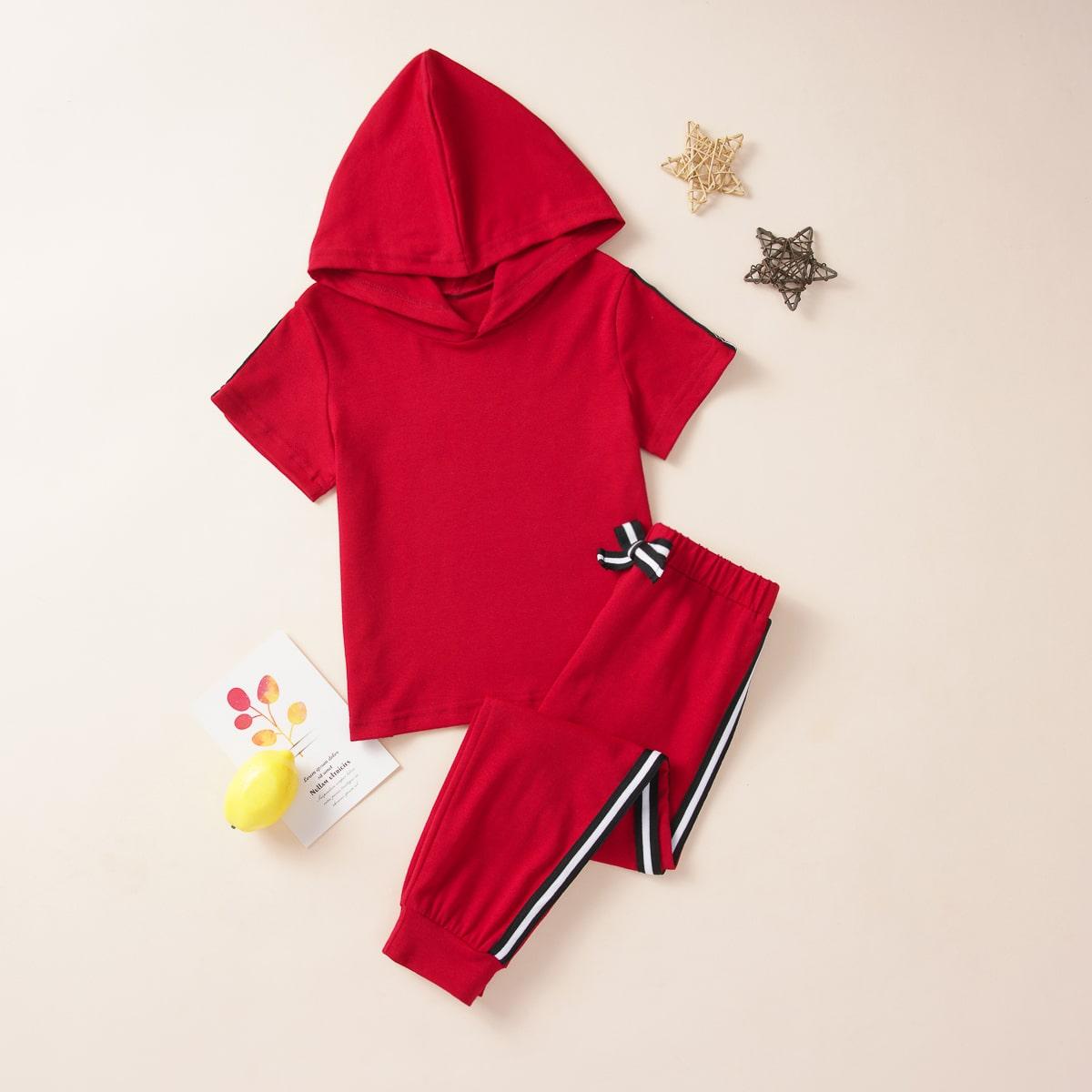 Футболка с капюшоном и спортивные брюки для девочек от SHEIN