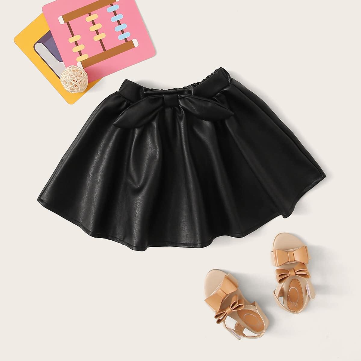 Расклешенная юбка из искусственной кожи с бантом для девочек от SHEIN