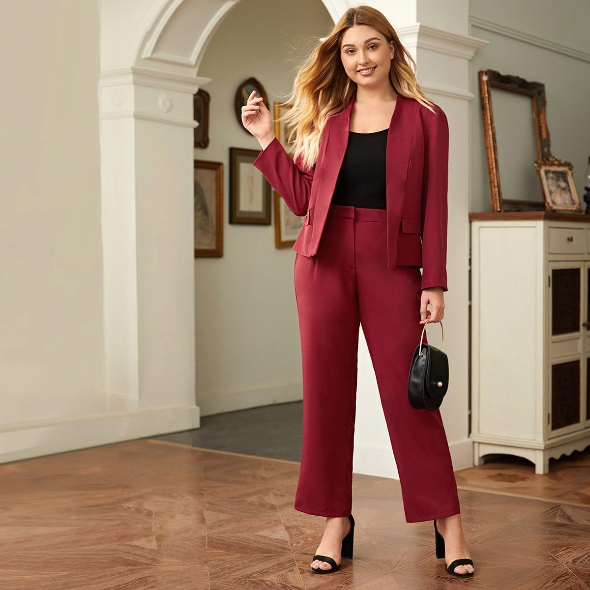 Plus kraag Blazer & Tailored-broek Set