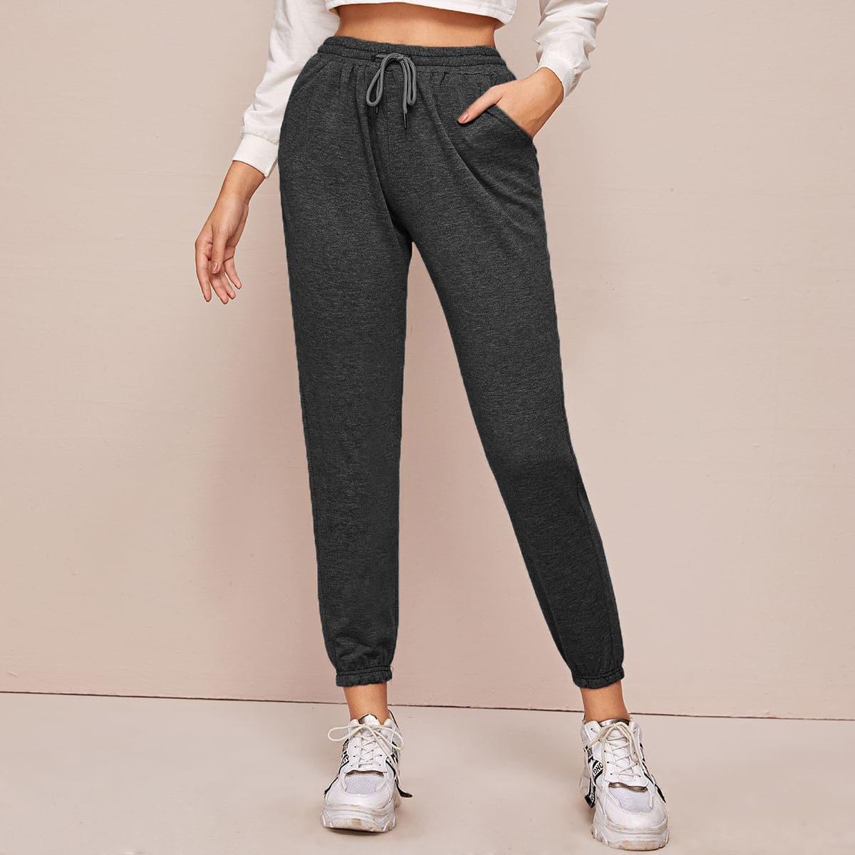 SHEIN / Pantalones deportivos cortos de cintura con cordón