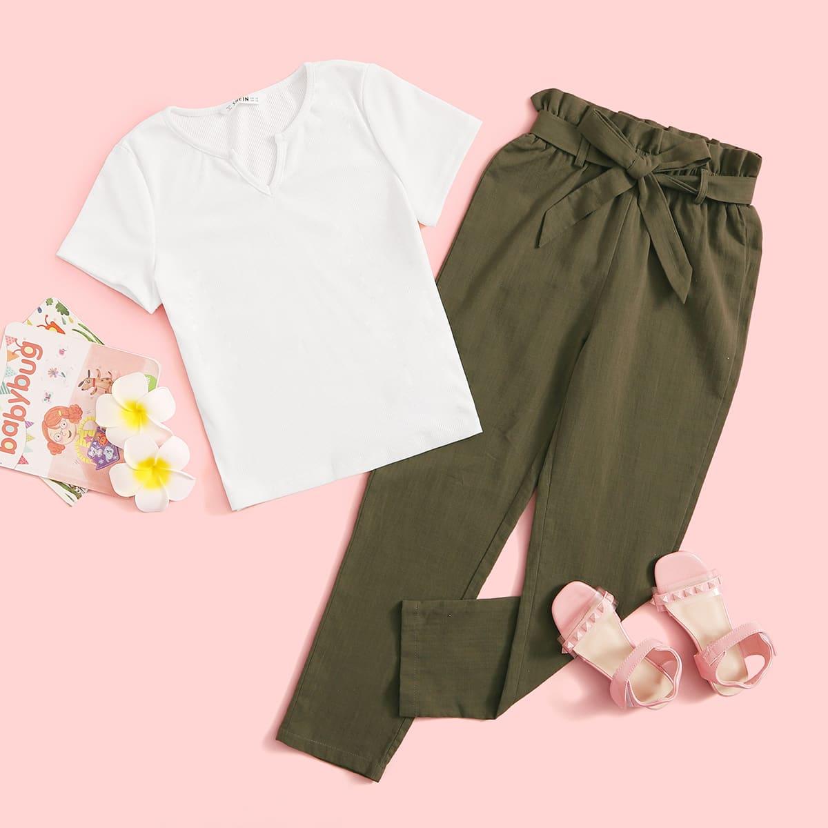 SHEIN / Mädchen T-Shirt mit eingekerbtem kragen und Hose Set mit Papiertasche Taille