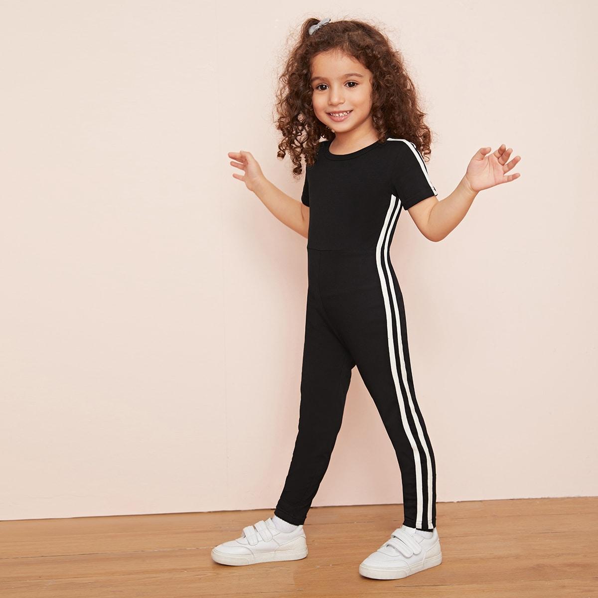 Комбинезон-футболка с полосками для девочек от SHEIN
