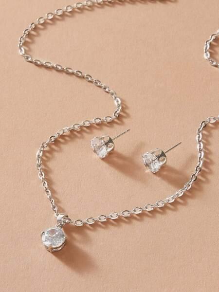 3pcs Rhinestone Decor Charm Necklace & Earrings