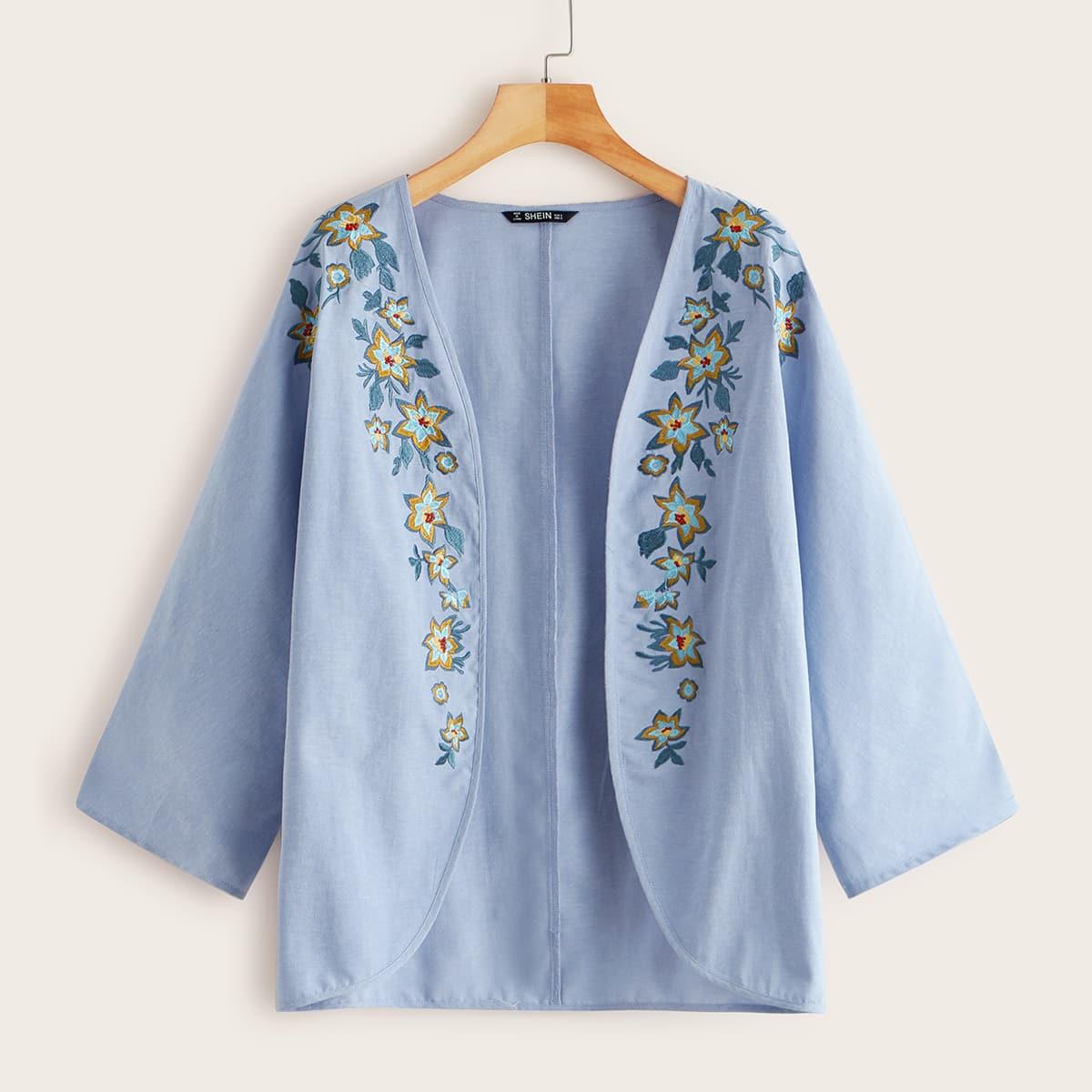 Blauw Boho Bloemen kimono Borduurwerk