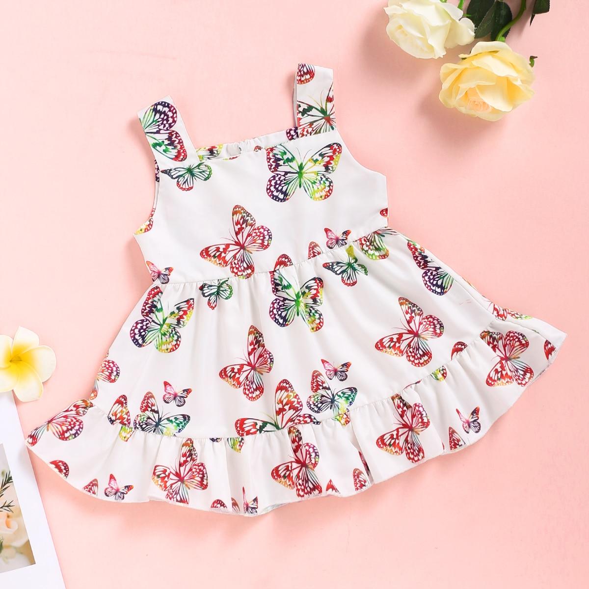 Платье на бретелях с оборками и принтом бабочки для девочек от SHEIN