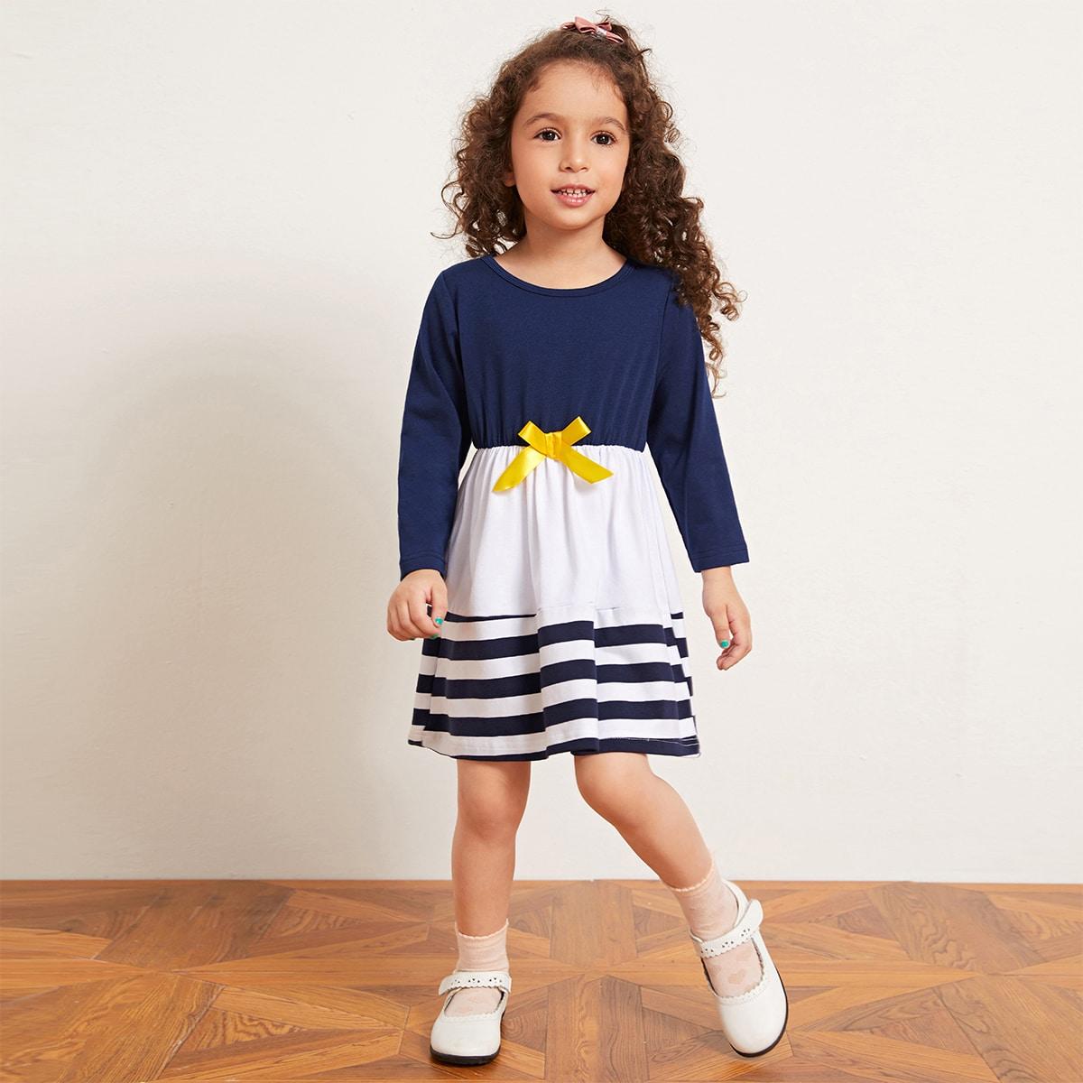 Контрастное полосатое платье с бантом для девочек от SHEIN