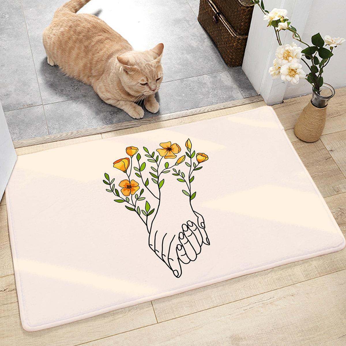 Древной коврик с принтом цветка
