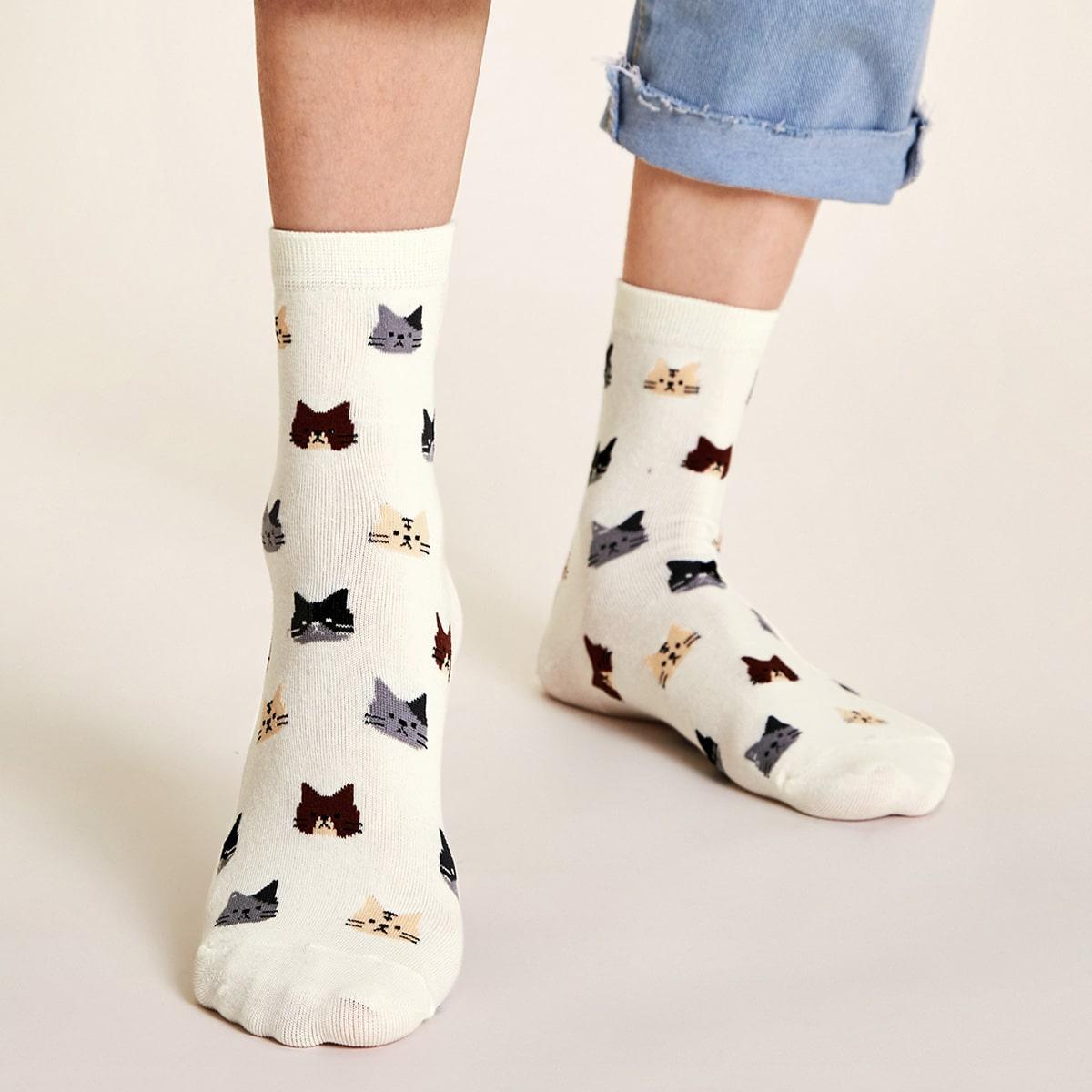 SHEIN / Socken mit Katze Muster 1 Paar