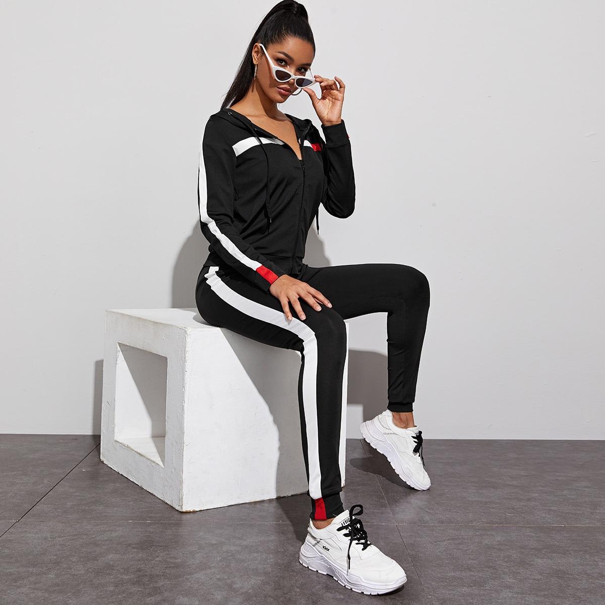 Контрастная толстовка с молнией и спортивные брюки от SHEIN