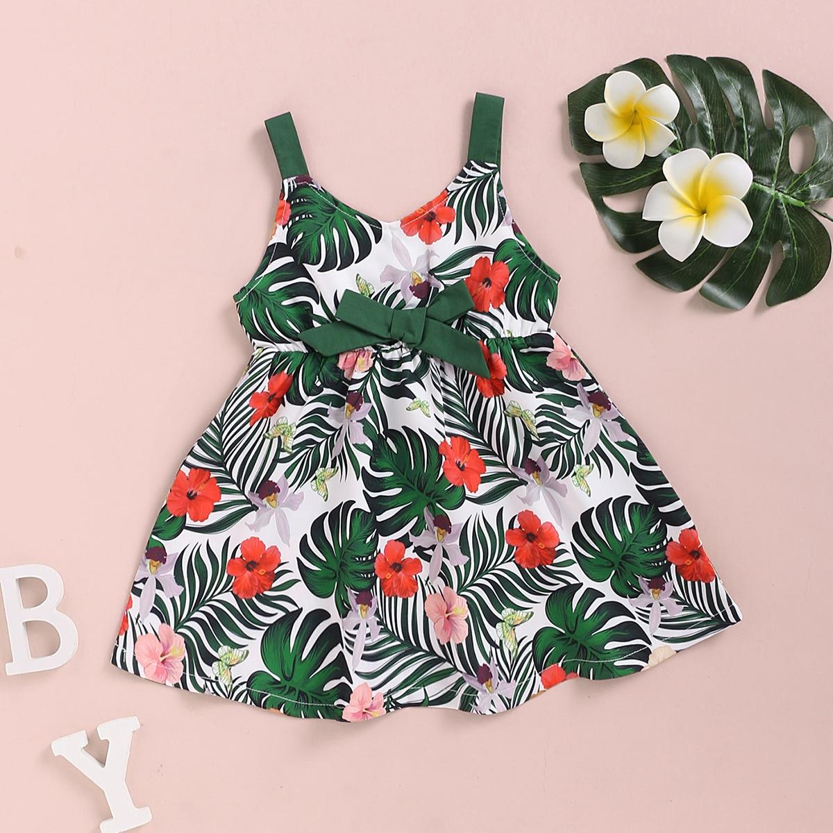 Платье с бантом, тропическим и цветочным принтом для девочек от SHEIN
