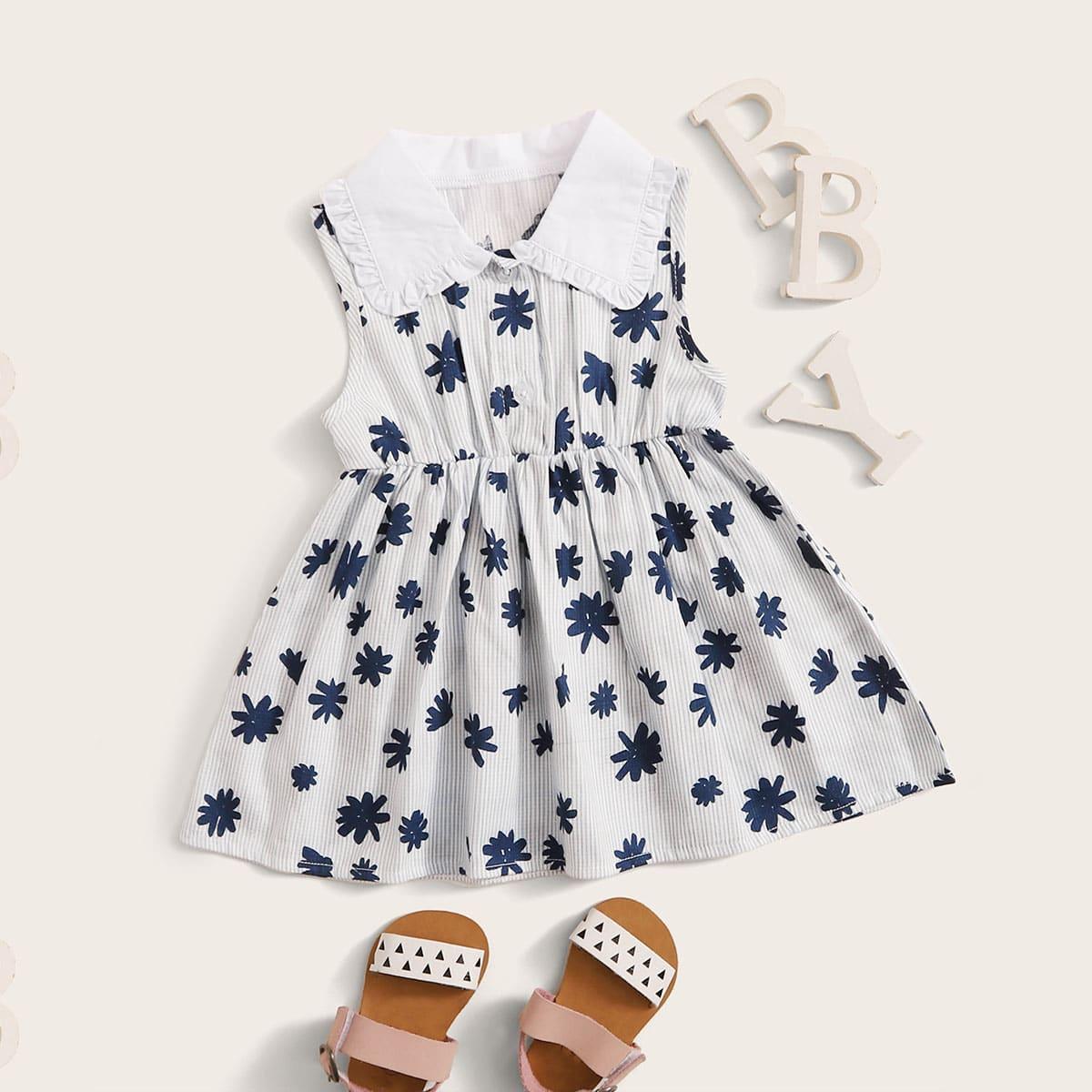 Цветочная платье-рубашка для девочек от SHEIN