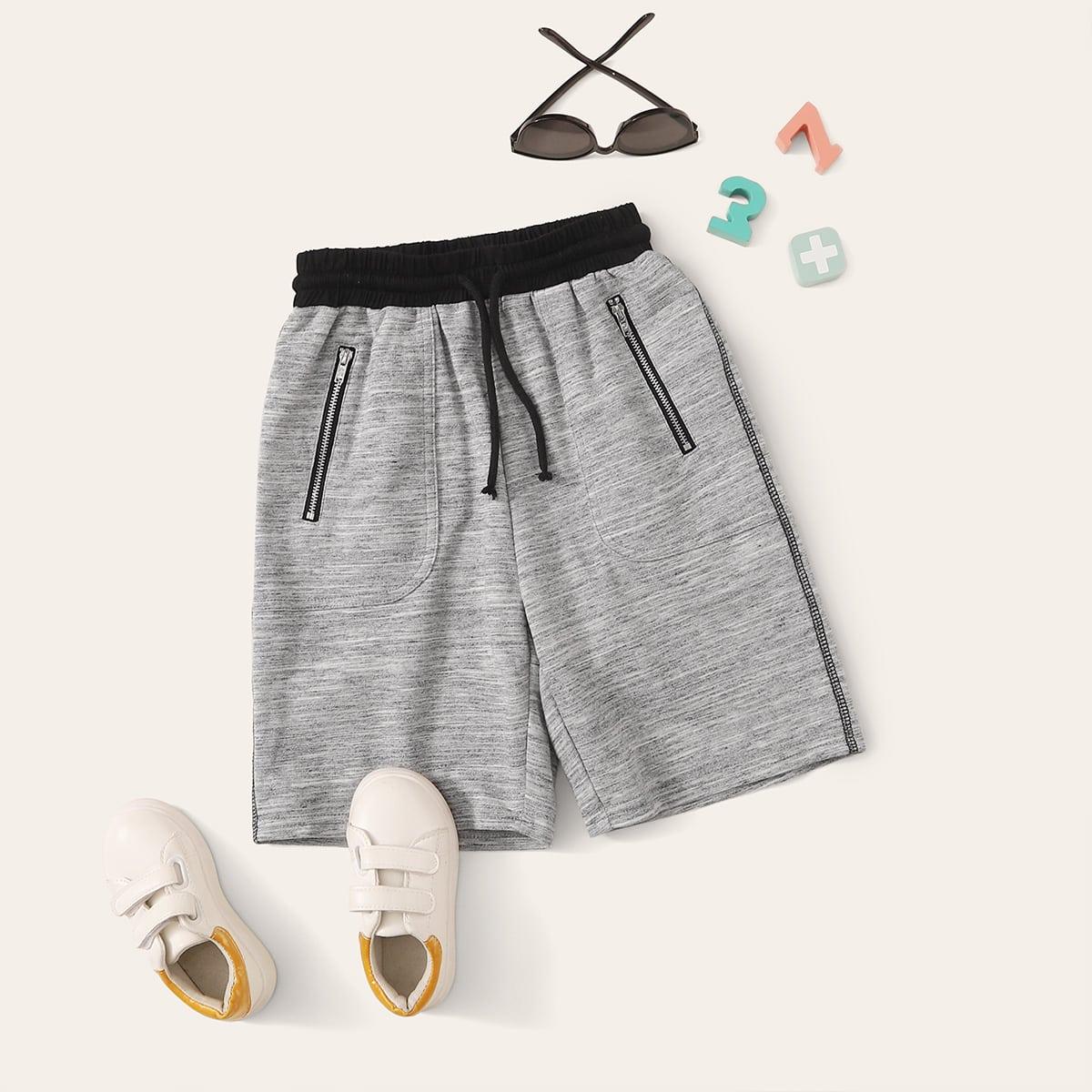 Шорты на кулиске с молнией и карманом для мальчиков от SHEIN