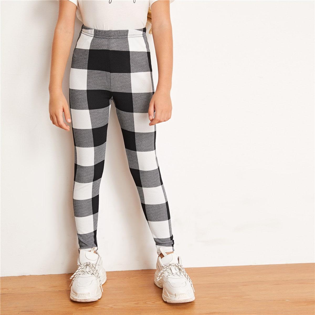 SHEIN / Mädchen Leggings mit Karo Muster