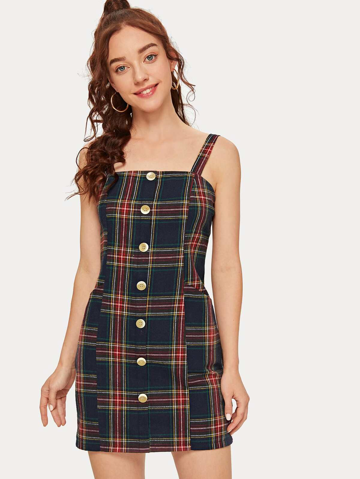 Button Front Tartan Cami Mini Dress