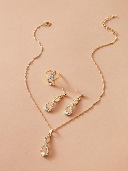 4pcs Rhinestone Decor Jewelry Set