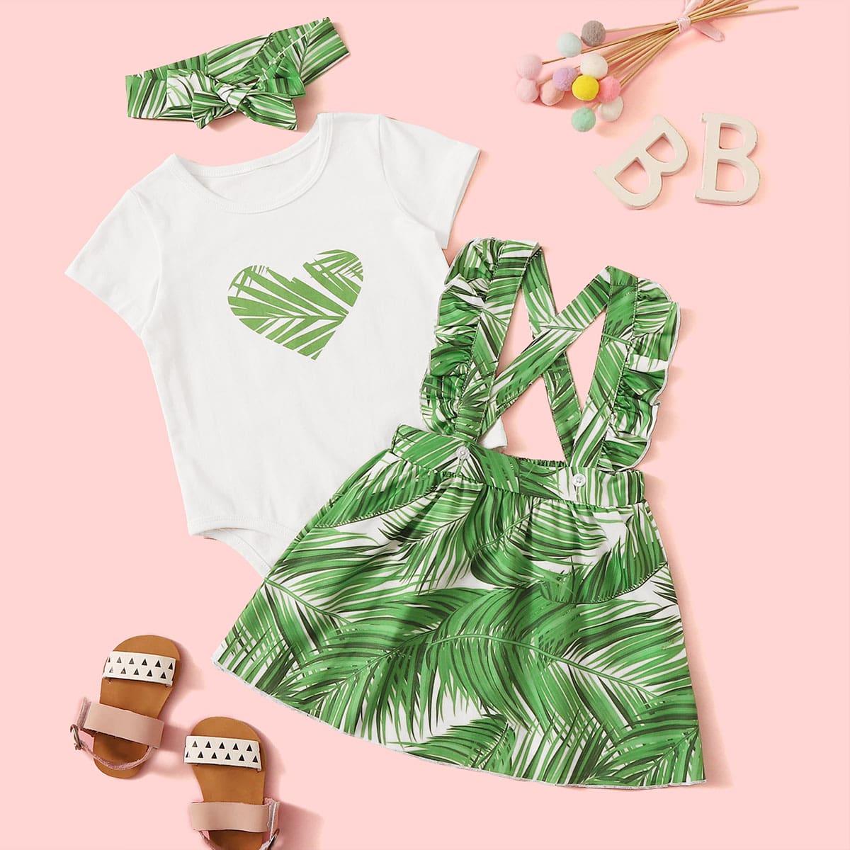 SHEIN / Baby Girl Tropical Print Romper & Ruffle Trim Skirt & Headband