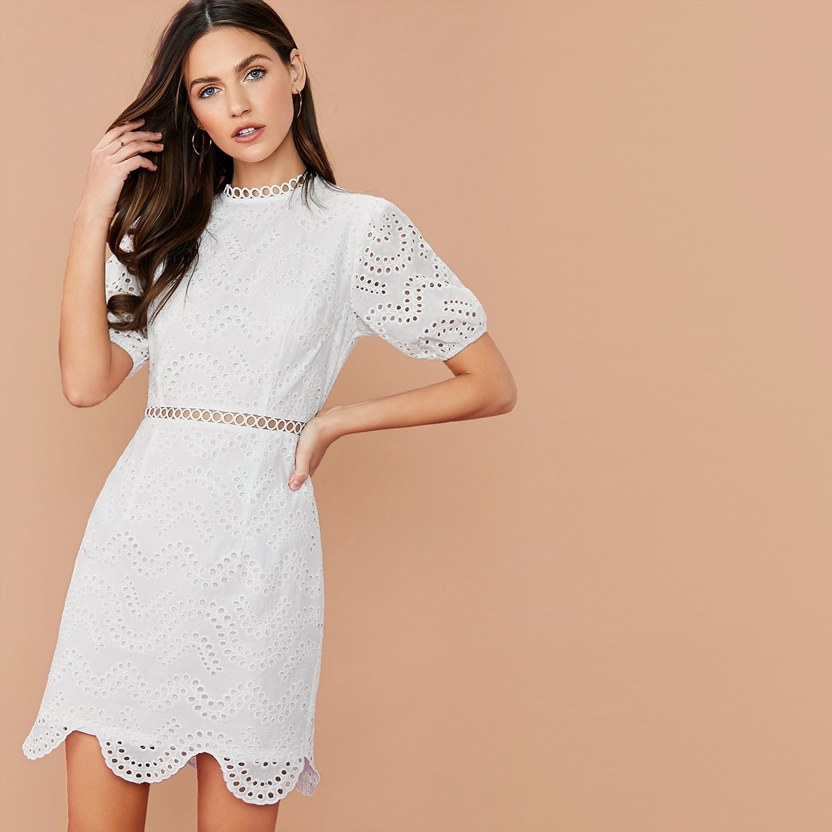 SHEIN / Guipure Lace Insert Scallop Hem Eyelet Embroidery Dress