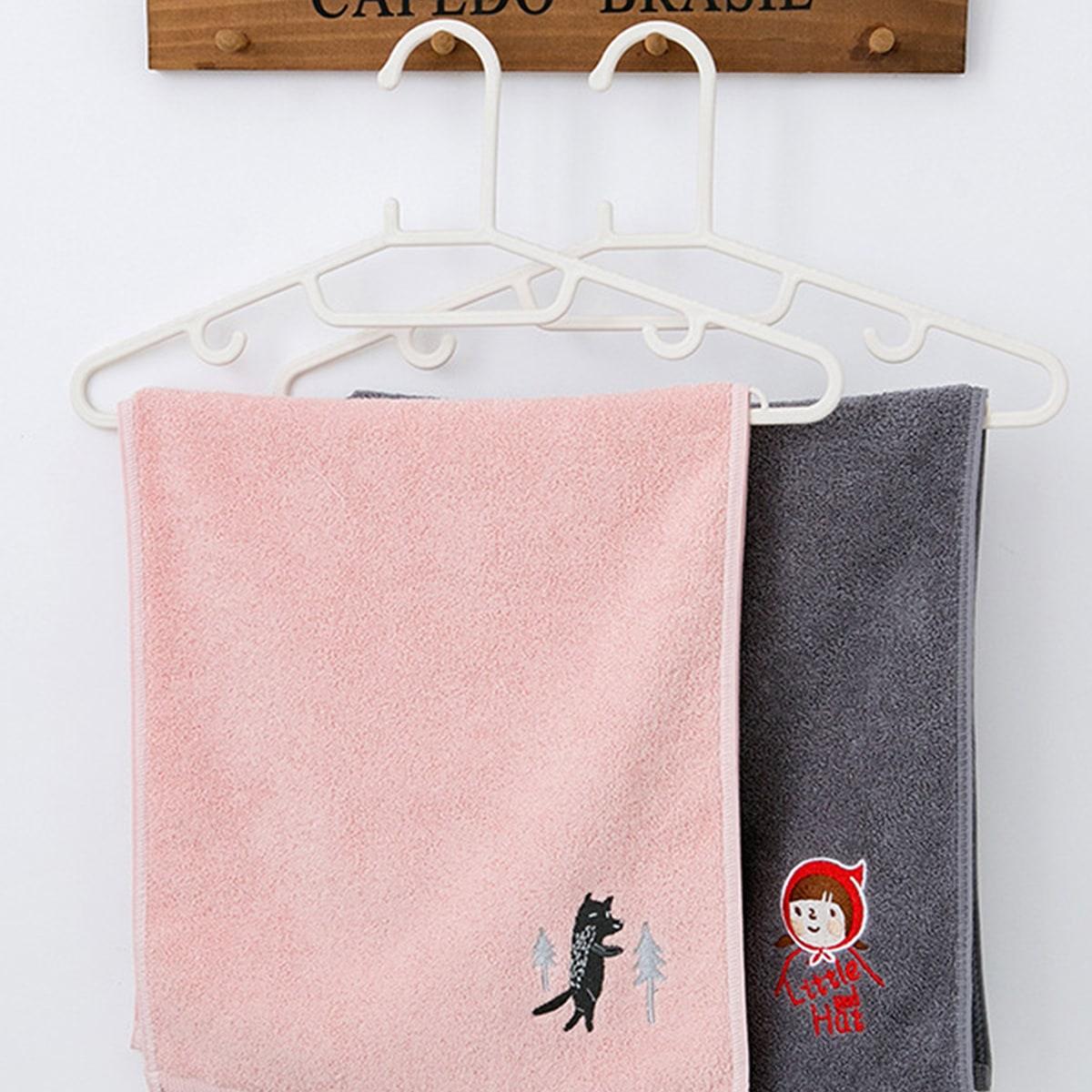 1pc cartoon patroon borduurwerk handdoek