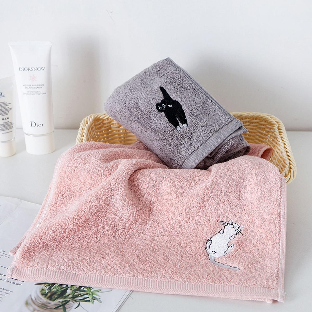 1pc kat borduurwerk handdoek