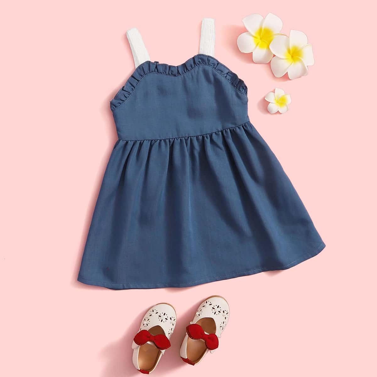 Платье на бретелях с бантом и складкой для девочек от SHEIN