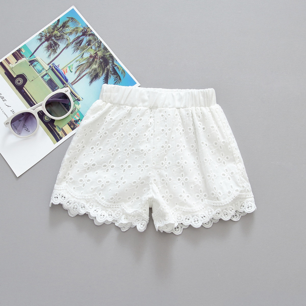 Шорты с вышивкой для девочек от SHEIN