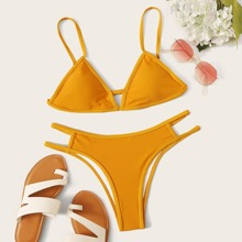 Triangle Top With Cutout Bikini Set