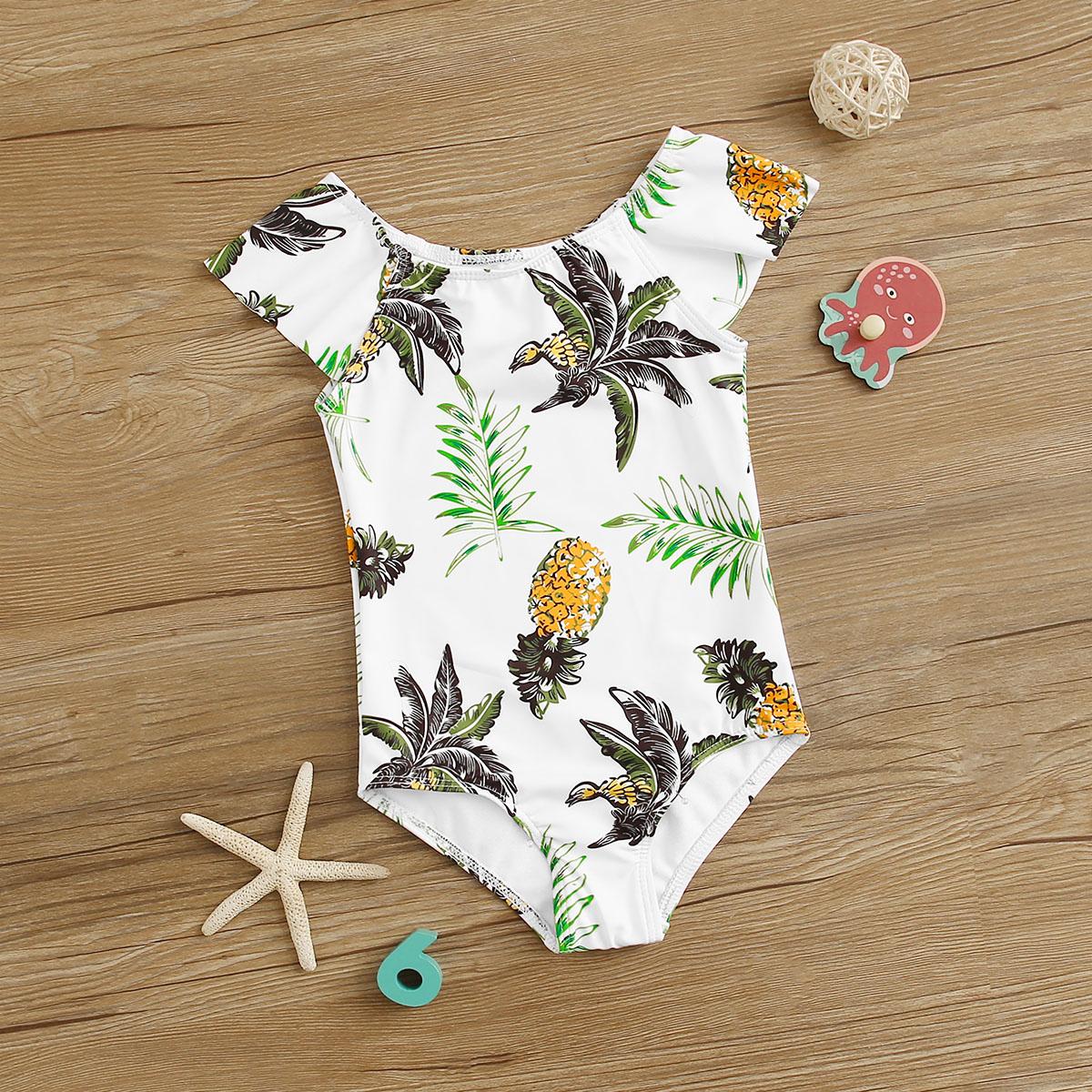 Babymeisje tropische badmode uit een stuk