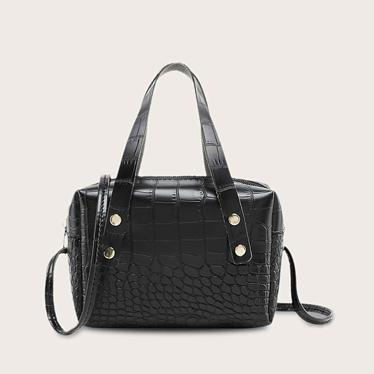Satchel-tas met crocprint voor meisjes