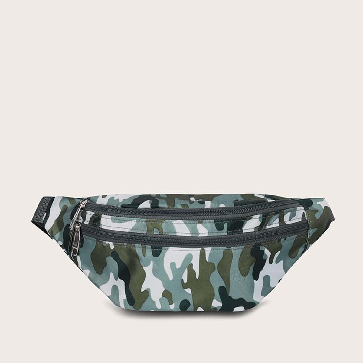 Heren Camouflage heuptasje met dubbele rits