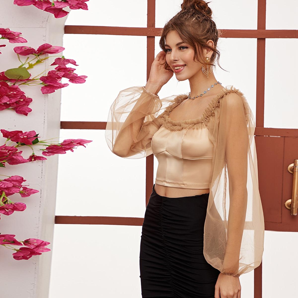 SHEIN / Top de satén de manga farol de malla fina de cuello cuadrado con diseño fruncido