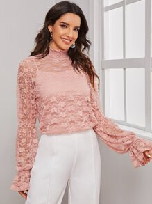 Camisole | Sleeve | Sheer | Bell | Neck | Lace | Top