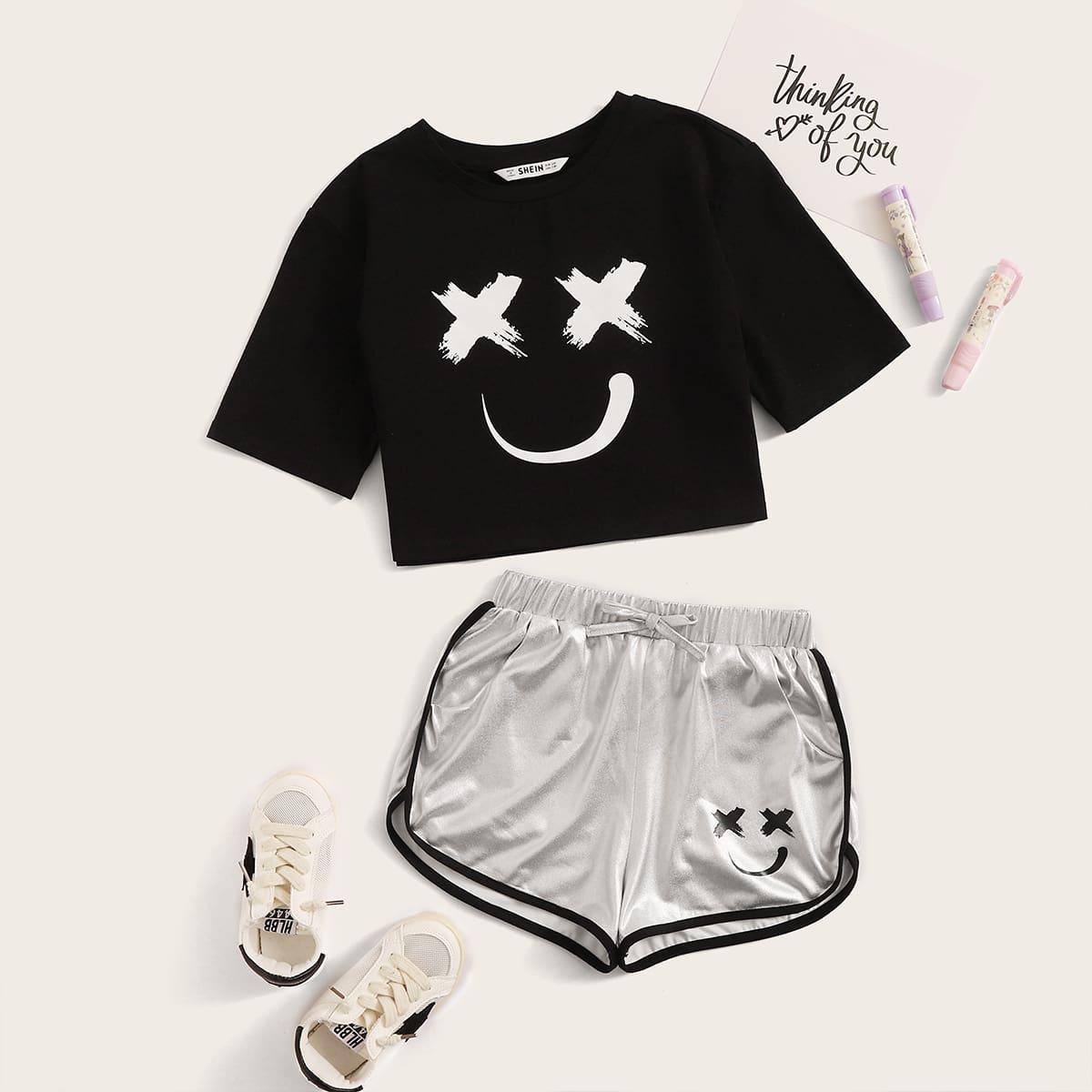 Футболка с мультяшным принтом и шорты для девочек от SHEIN