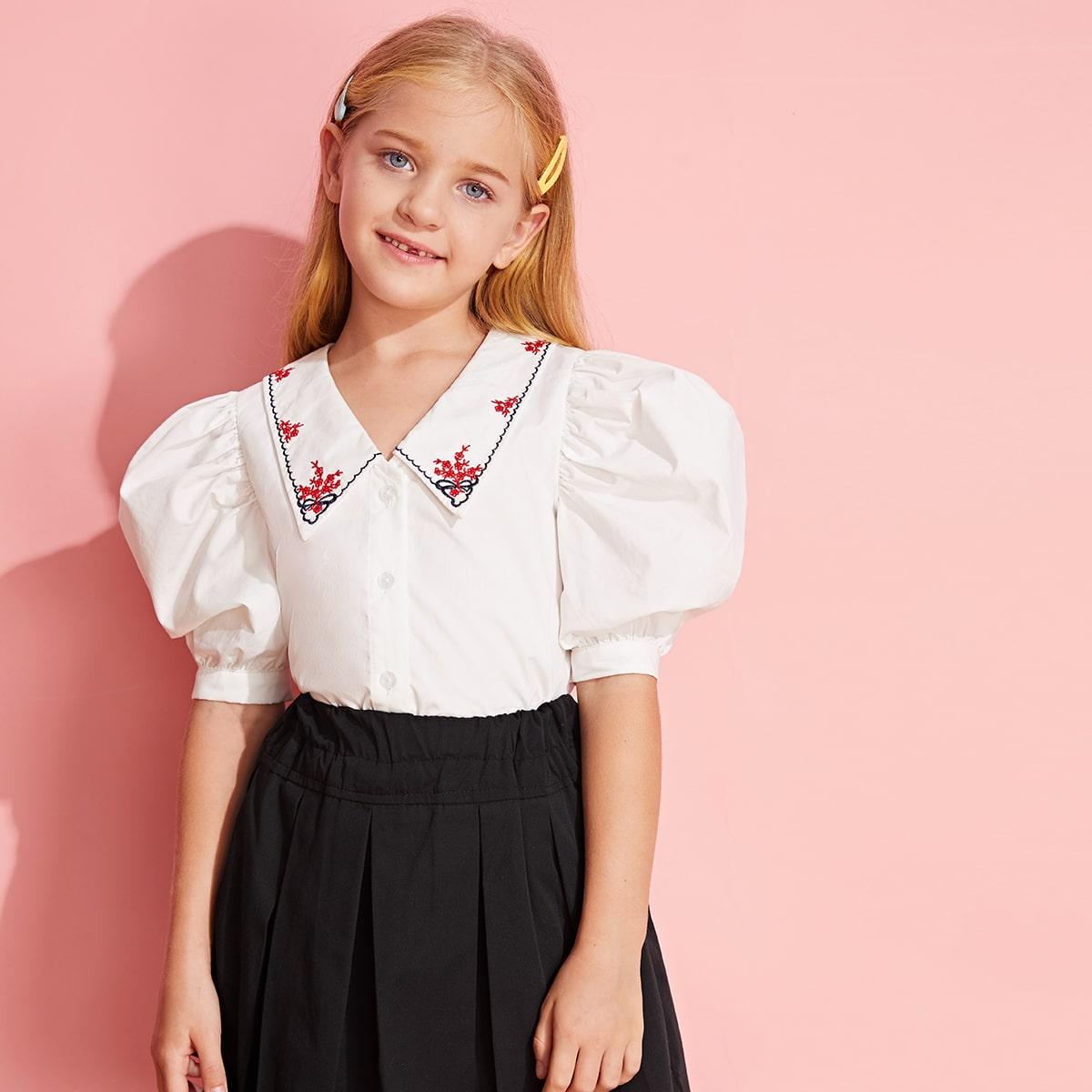 Блуза с пышным рукавом и вышивкой для девочек от SHEIN