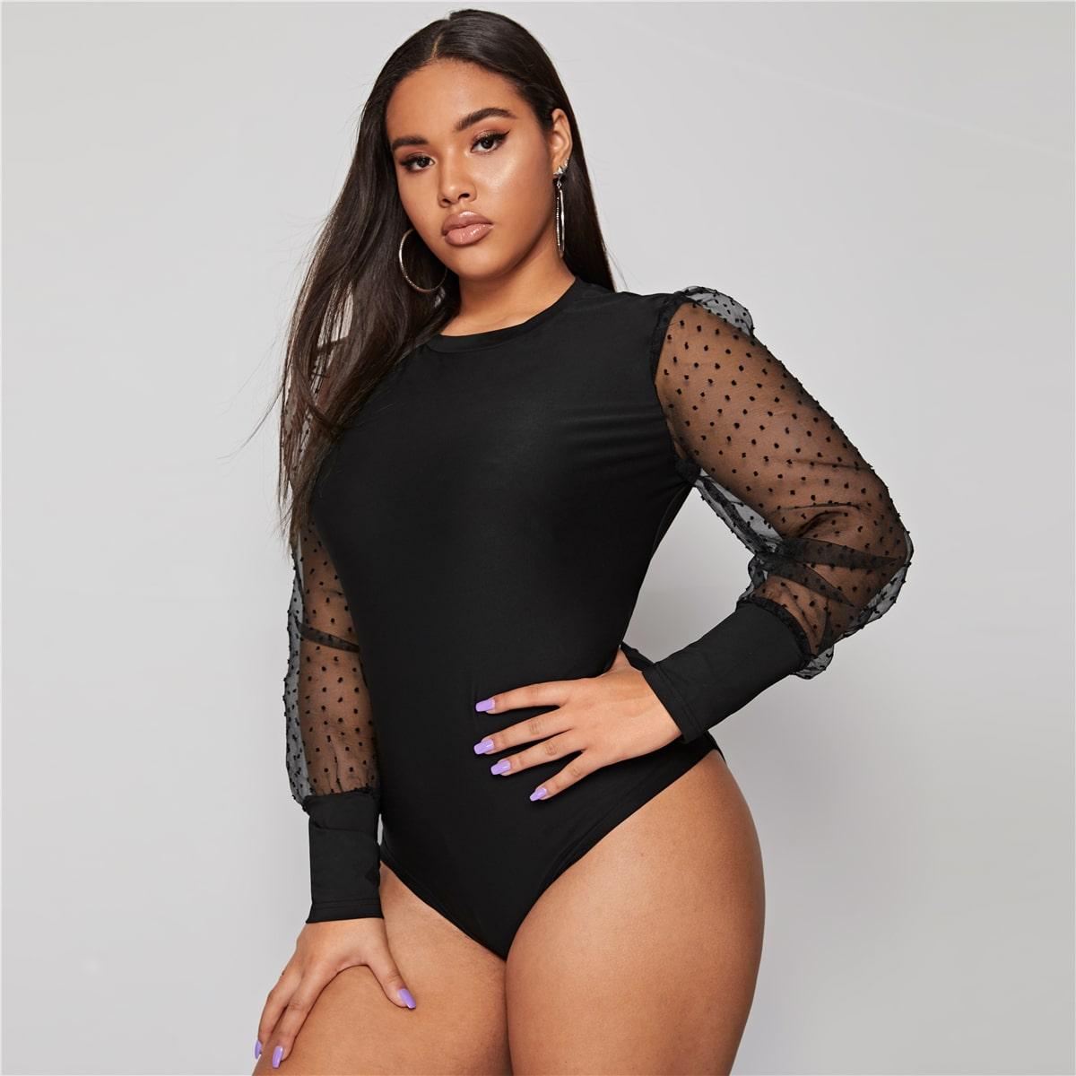 Zwart Elegant Stippen Bodysuits grote maten Contrast mesh