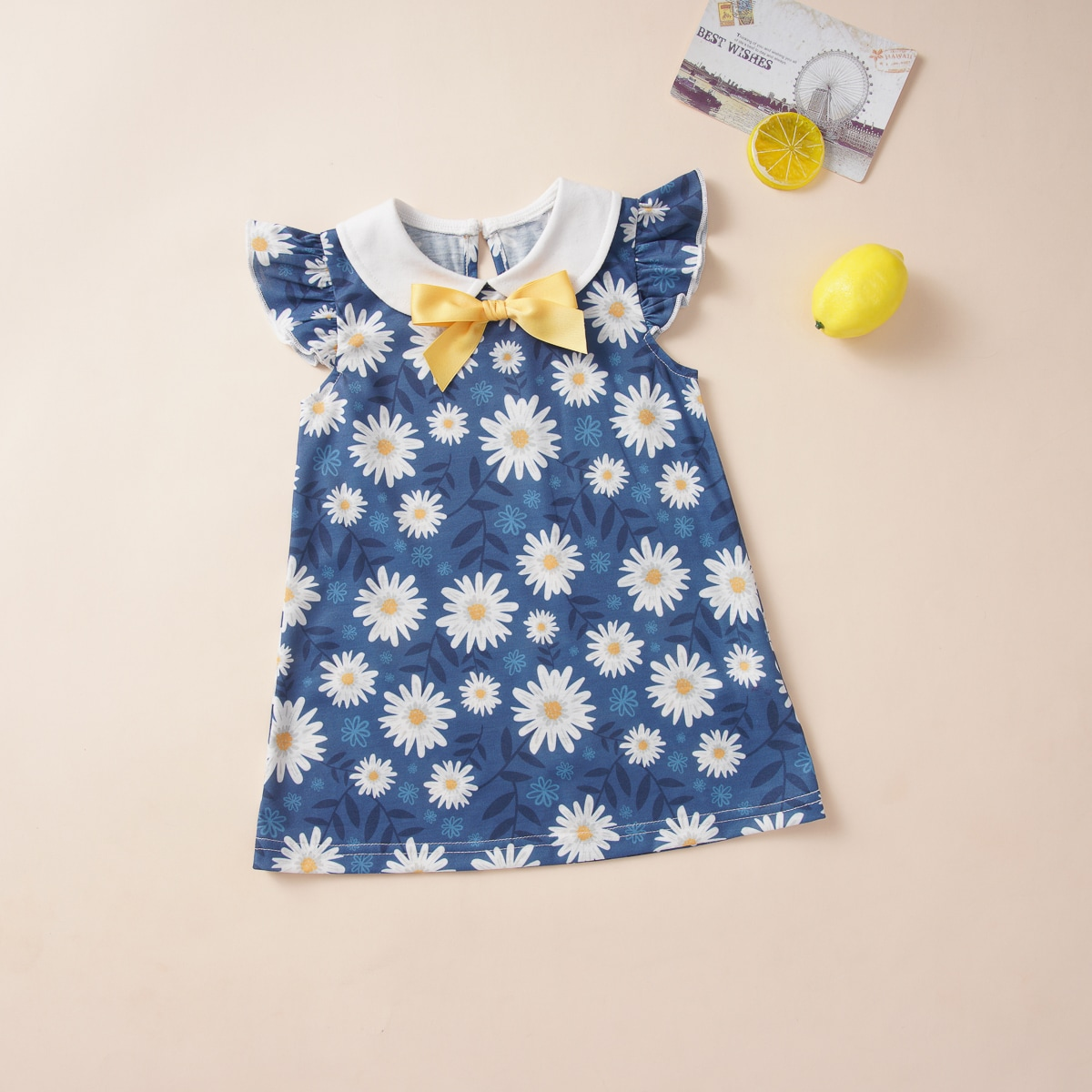 Платье с бантом, цветочным принтом и воротником питером пэном для девочек от SHEIN