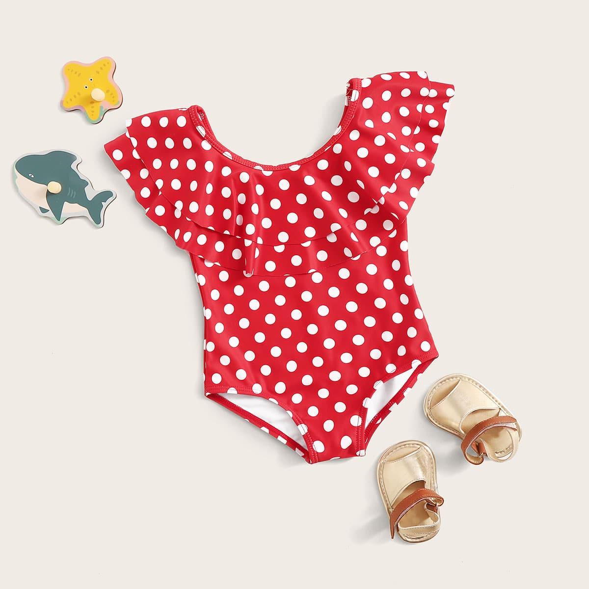 Eendelig badpak met polkadotlaag voor babymeisjes