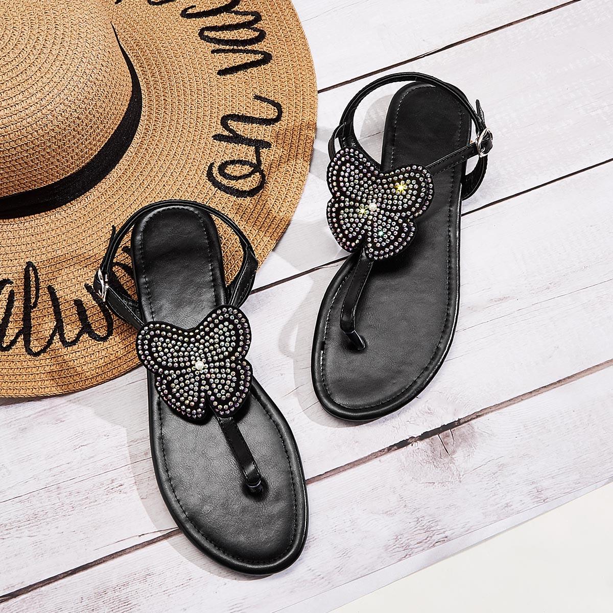 SHEIN / Rhinestone Decor Toe Post Ankle Strap Sandals