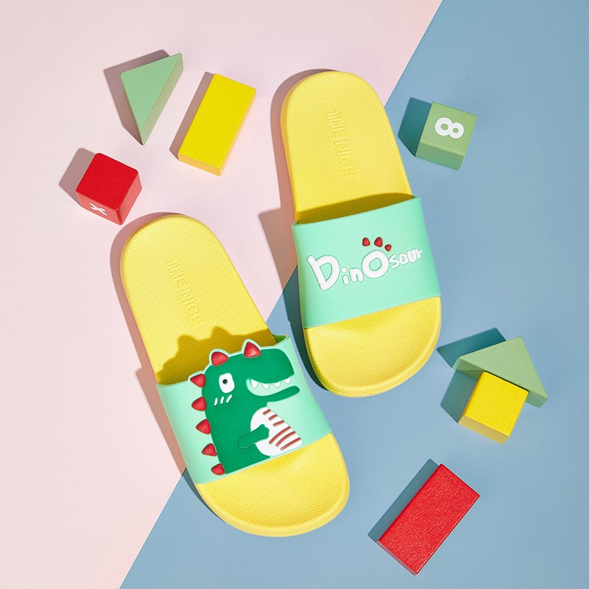 Тапочки с открытым носком и принтом динозавра для мальчиков от SHEIN
