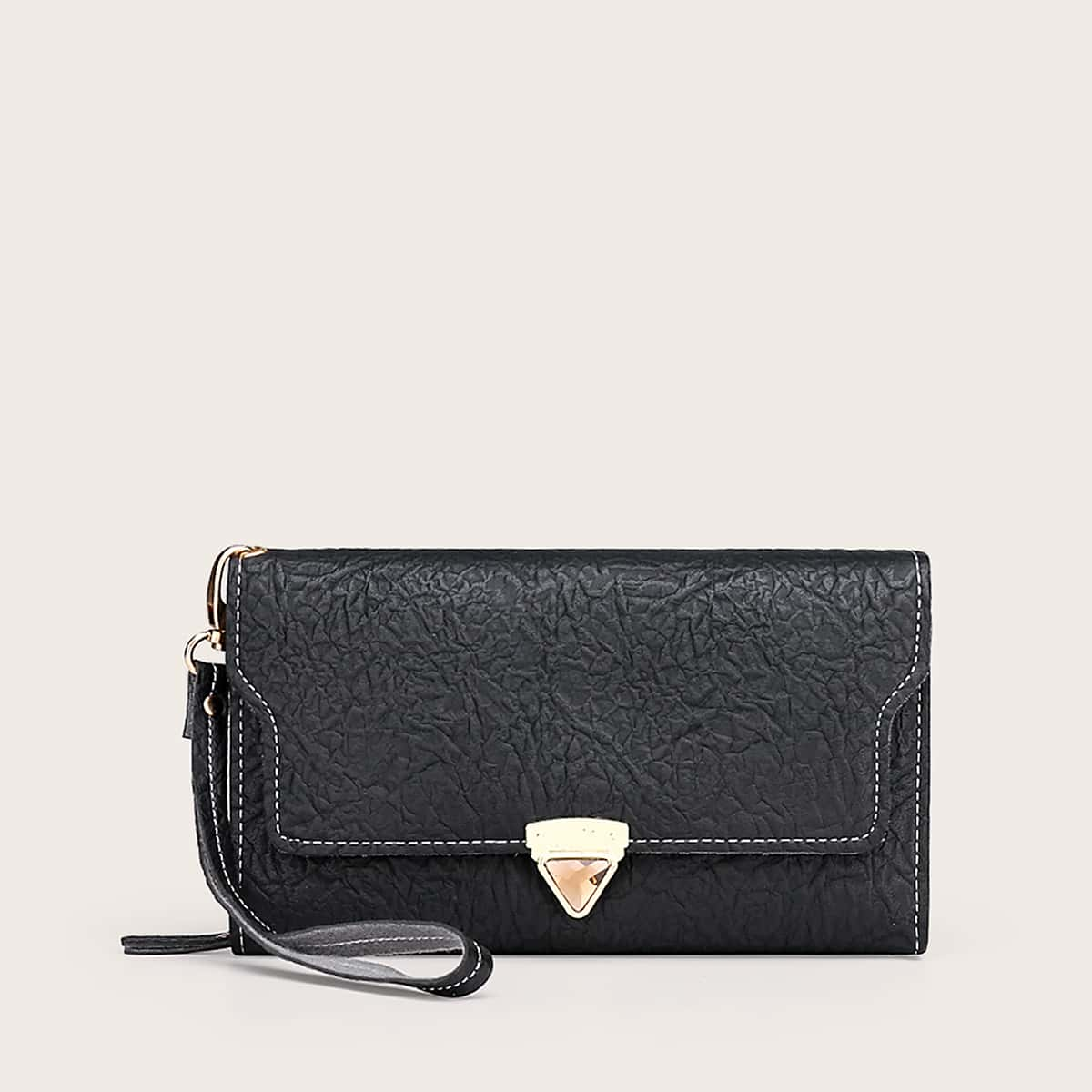 Metal Lock Fold Over Purse With Wristlet (swbag03200103044) photo