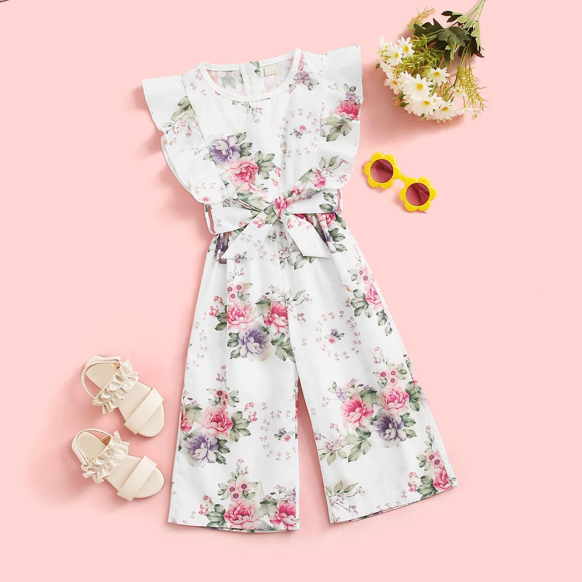 Комбинезон с поясом, оборками и цветочным принтом для девочек от SHEIN