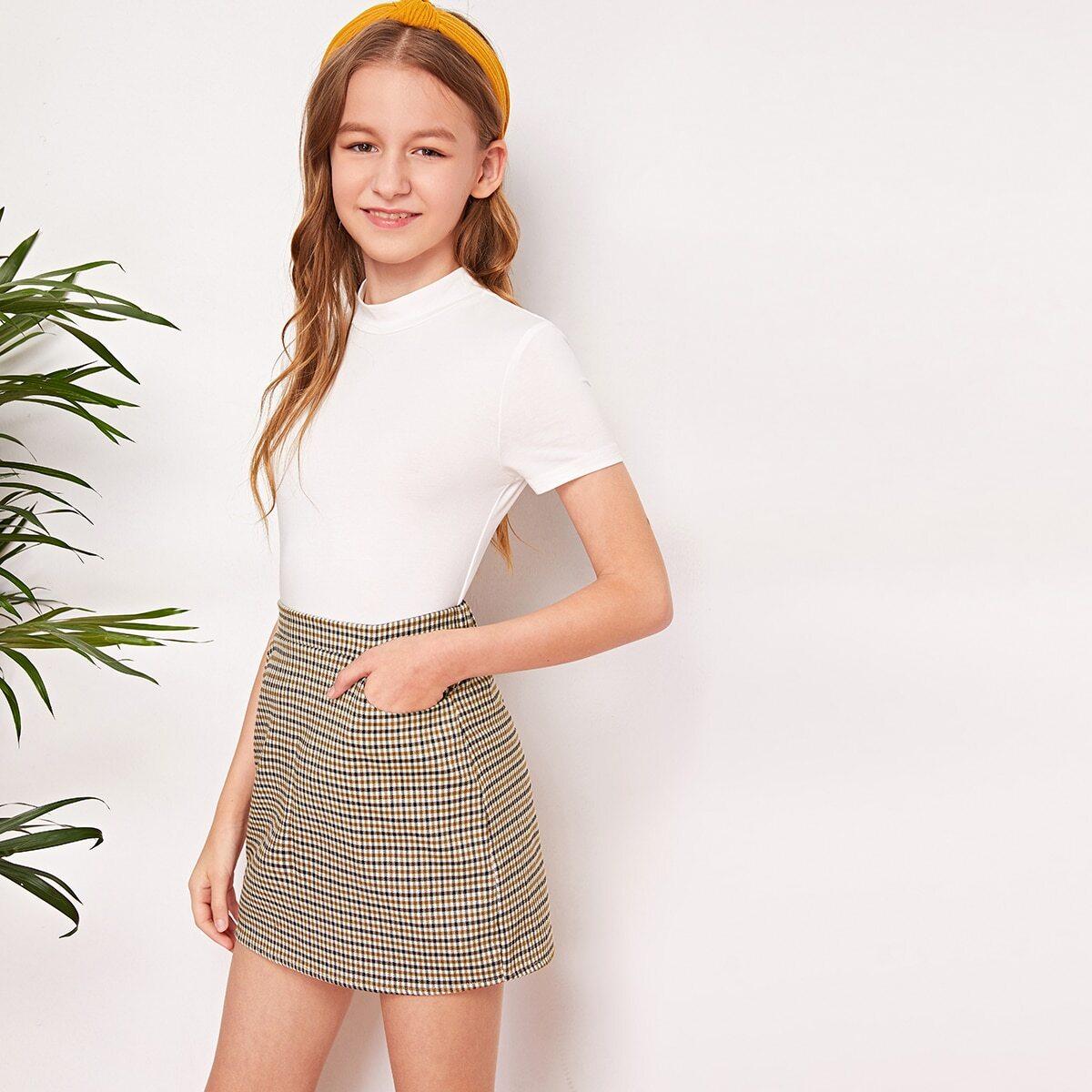 Топ с воротником-стойкой и юбка в клетку для девочек от SHEIN