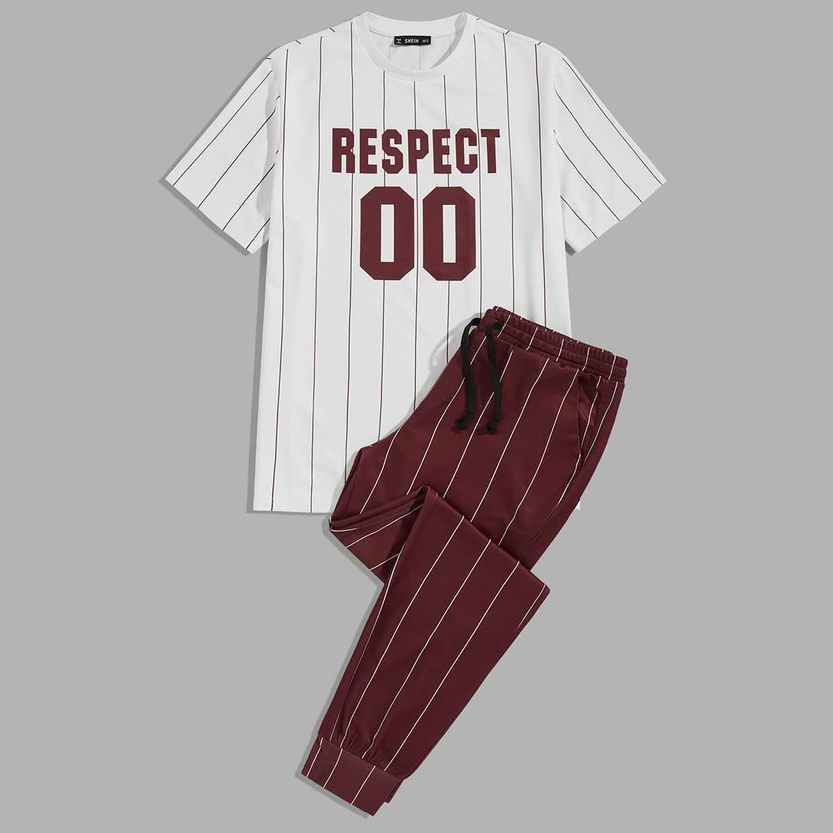 Мужские полосатые брюки и футболка с текстовым принтом от SHEIN