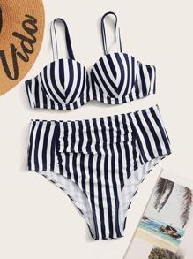 Swimsuit | Ruched | Bikini | Stripe | Push | High | Up