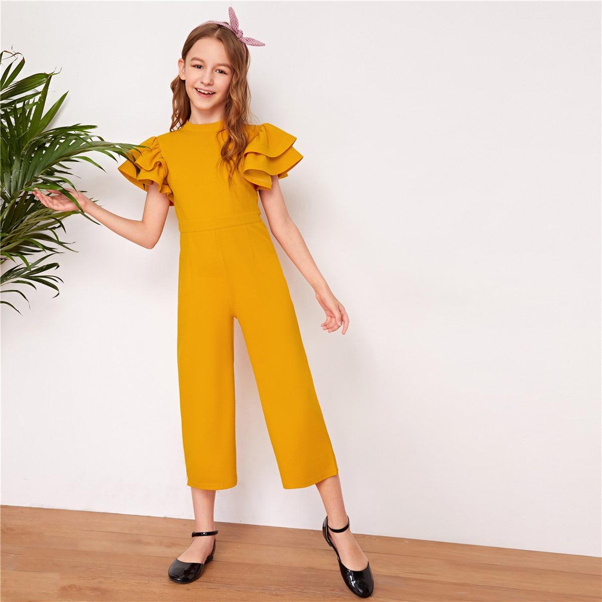 SHEIN / Girls Layered Flutter Sleeve Solid Jumpsuit