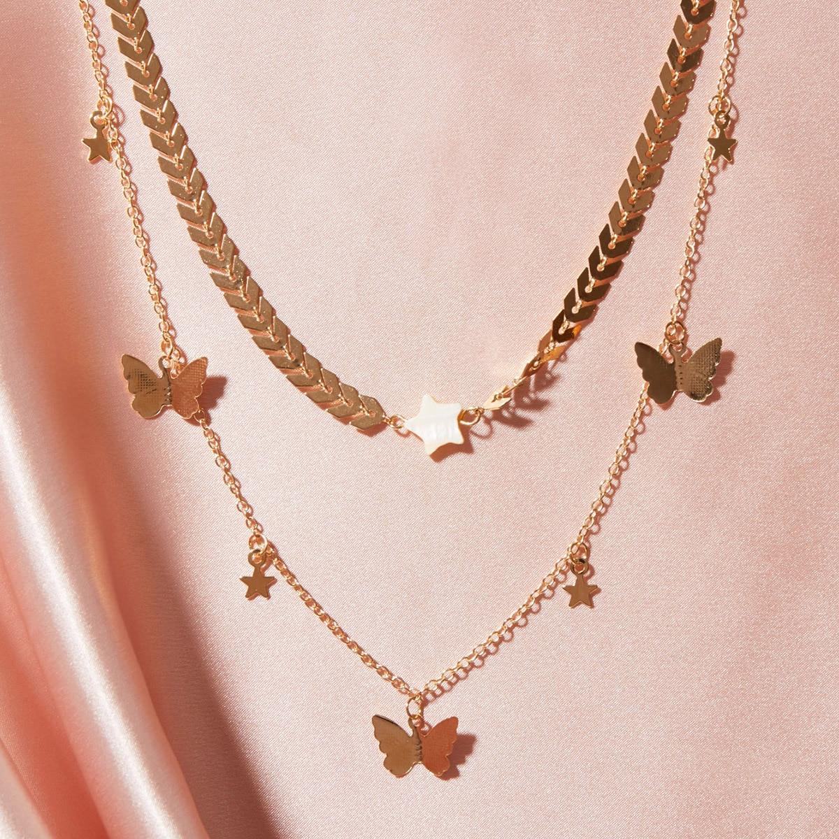 SHEIN / Halskette mit Schmetterling & Stern Anhänger 2 Stücke