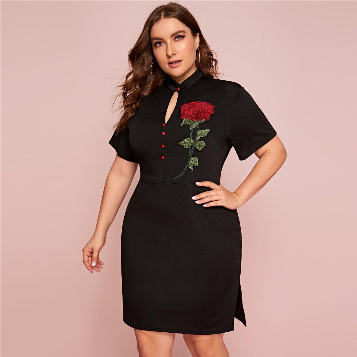 SHEIN / Große Größen -  Kleid mit Blumen Stickereien