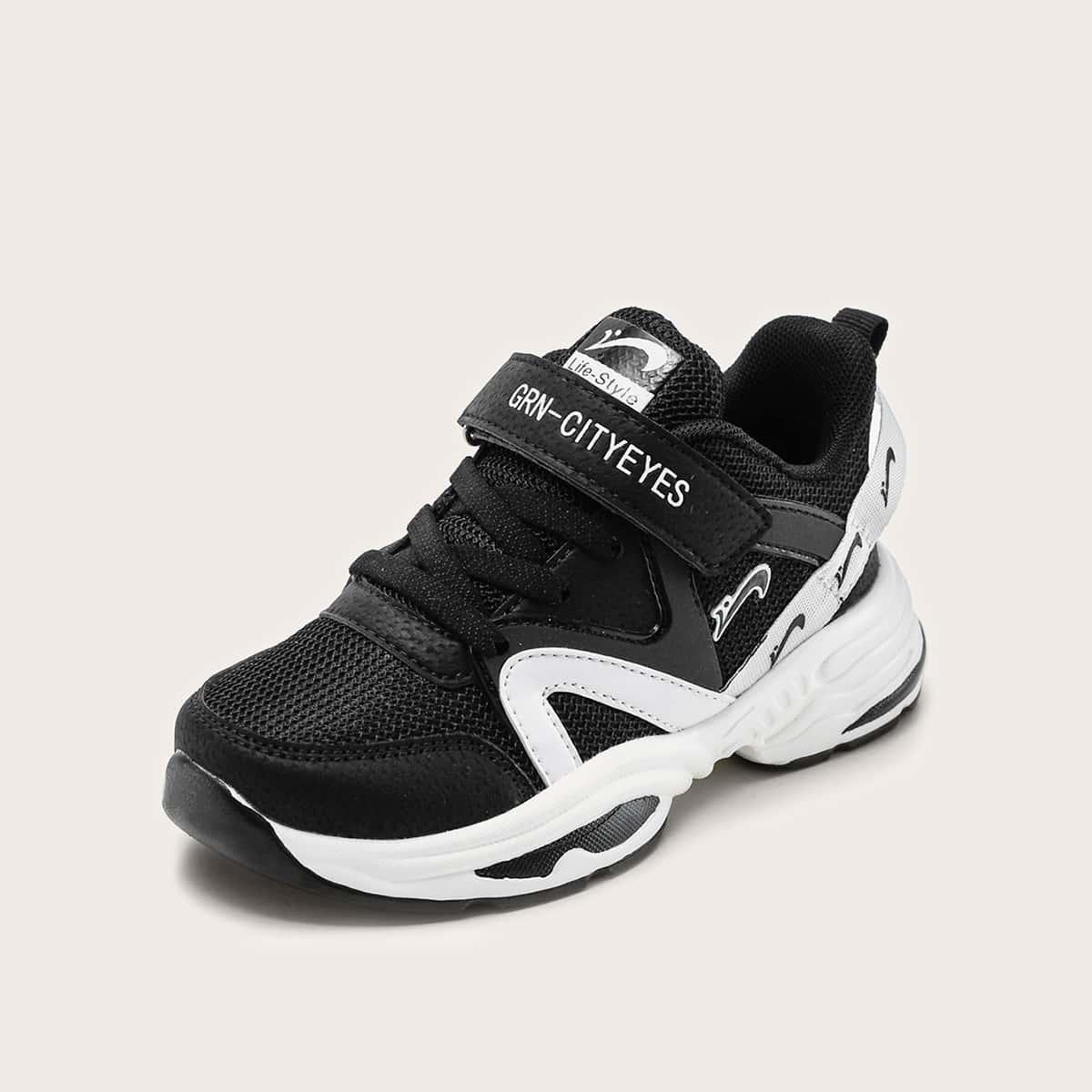 Sneakers met grafische klittenbandriem voor meisjes