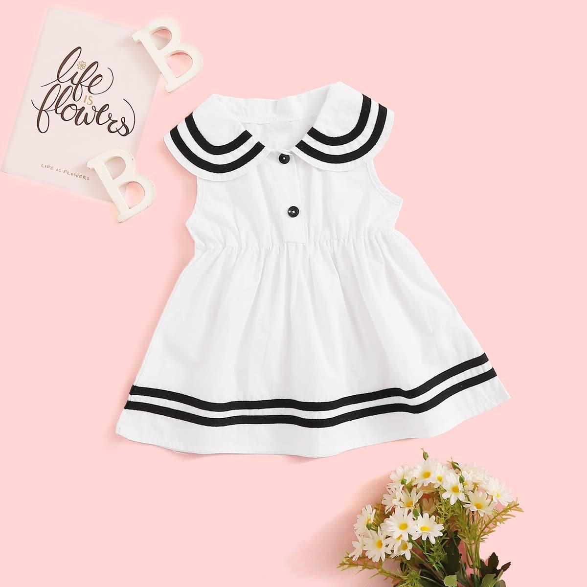 Платье с полосками и оригинальным вырезом для девочек от SHEIN